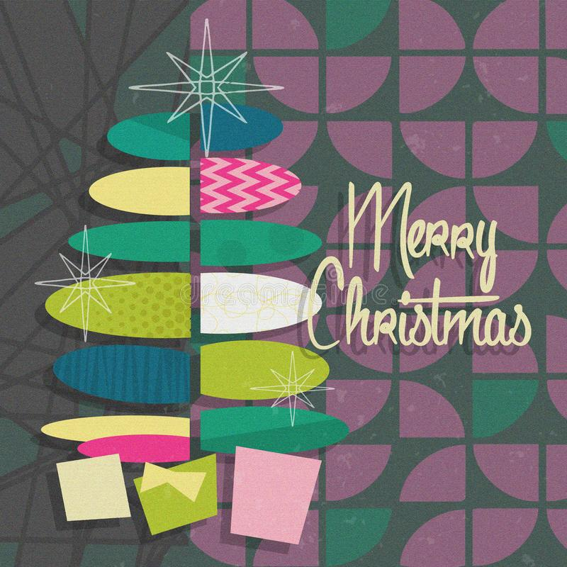 Mid Century Modern Christmas Card Party Invitation Gray Purple stock photos