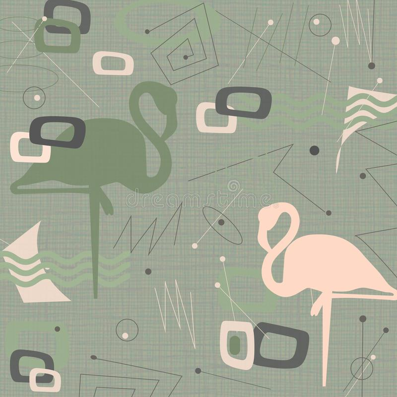 Md Century Modern Flamingo Background Fabric. Mid-Century Modern Flamingo Background Fabric that is retro and hip 1950`s 1960`s cool vintage royalty free illustration