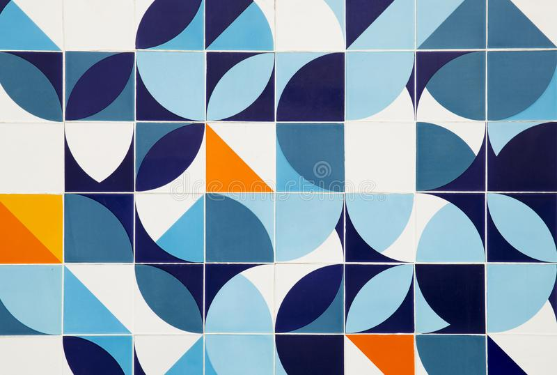 Mid century modern pattern ceramic tiles in Rio de Janeiro stock images