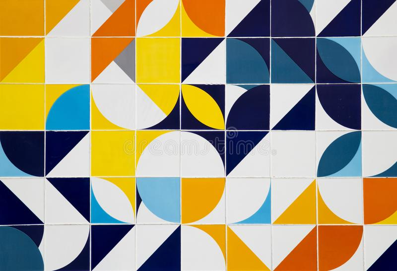 Mid century modern pattern ceramic tiles in Rio royalty free stock photo
