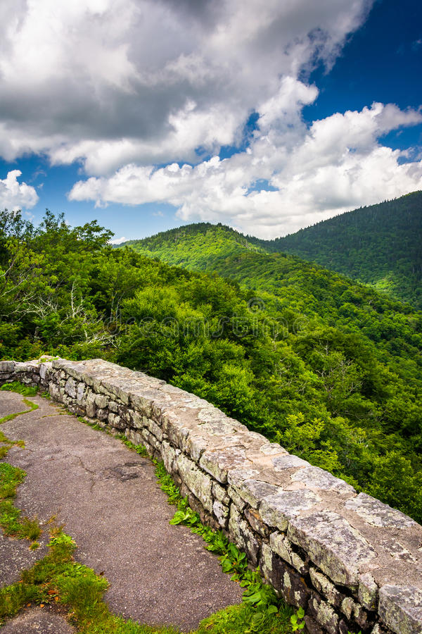 Mid-day view of the Appalachian Mountains from Craggy Pinnacle, royalty free stock photography