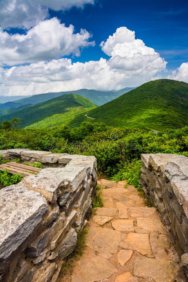 Mid-day view of the Appalachian Mountains from Craggy Pinnacle, royalty free stock photo