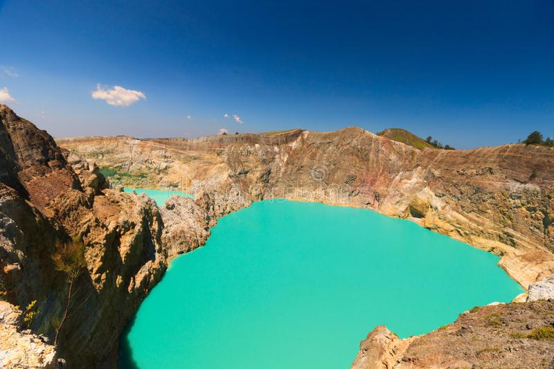 Mid day view Gunung Kelimutu on Flores, Indonesia. royalty free stock images