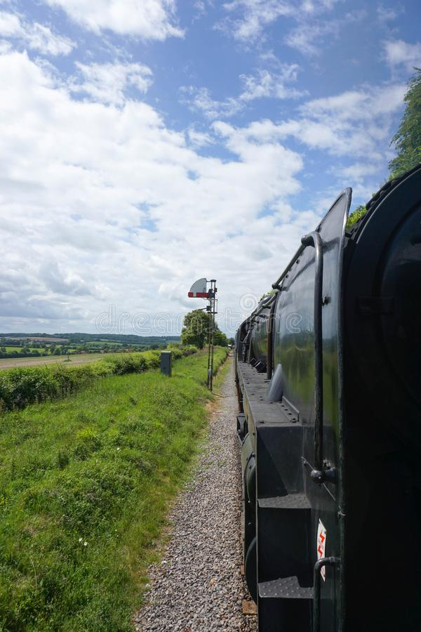 Steam train photo taken from the train stock photography