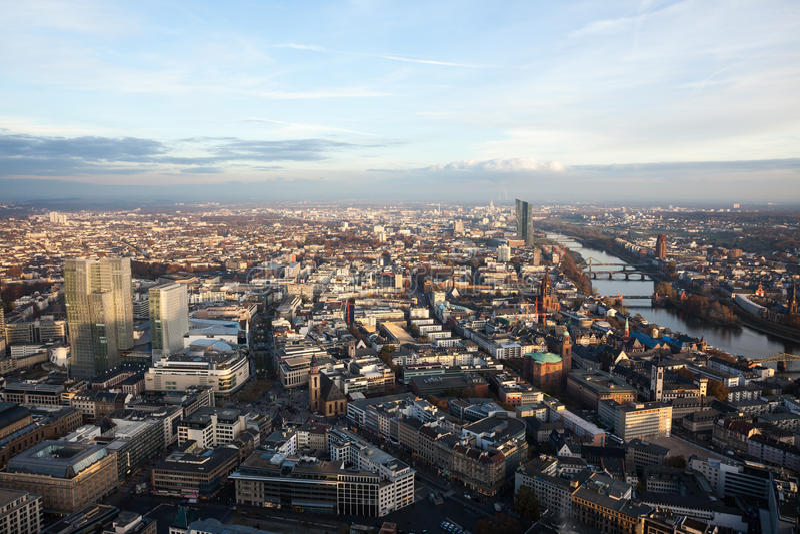 Mid morning view of Frankfurt Germany stock photos