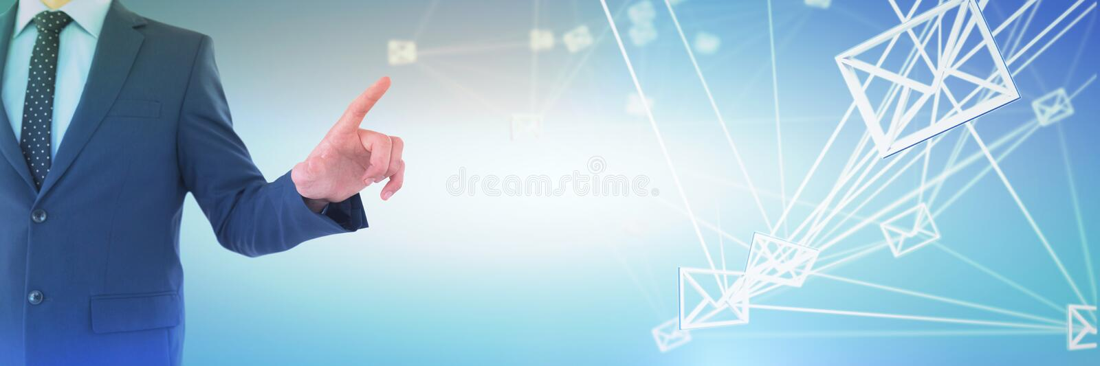 Composite image of mid section of businessman selecting on imaginary screen. Mid section of businessman selecting on imaginary screen against abstract blue stock photography