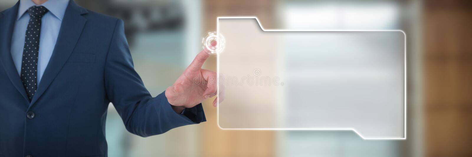 Mid section of businessman selecting on imaginary screen against lift in office building royalty free stock photography