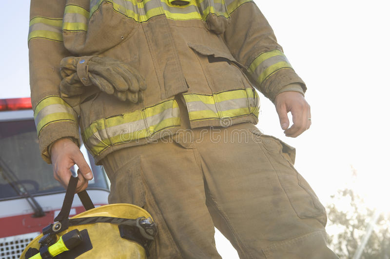 Mid Section Of A Middle Aged Firefighter royalty free stock images
