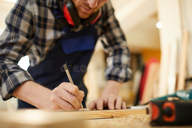 Carpenter Drawing Sketch royalty free stock image