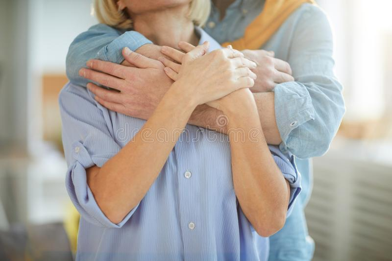Tender Mature Couple Embracing royalty free stock photography