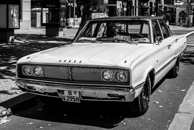 Mid-size car Dodge Coronet, 1967. Black and white. stock photo