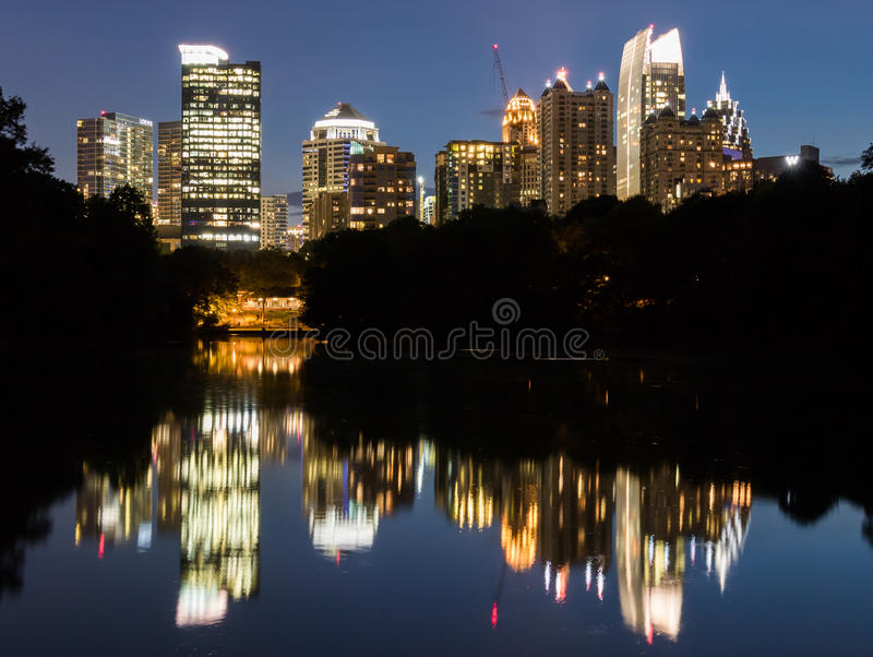 Mid town at Night royalty free stock image