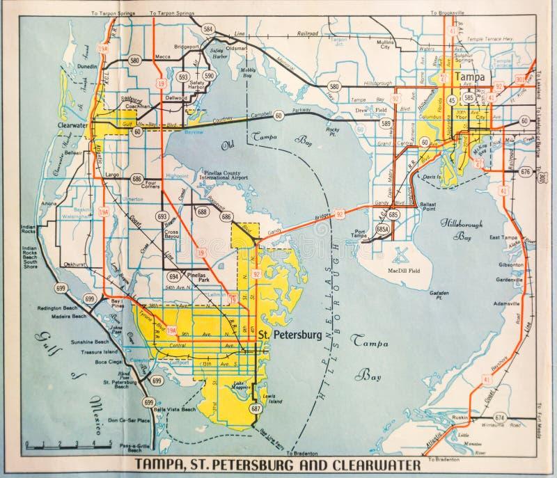 Mid Twentieth Century Map of Tampa stock photo