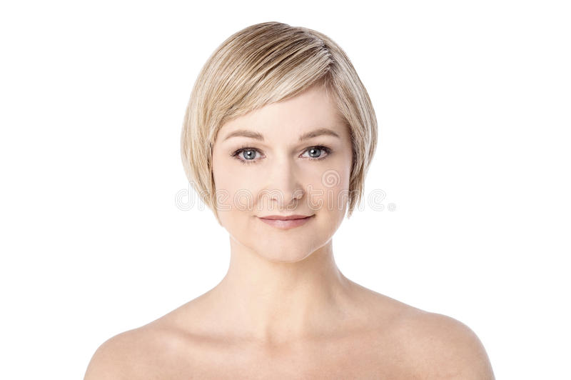 Mid woman with healthy clean skin royalty free stock photography