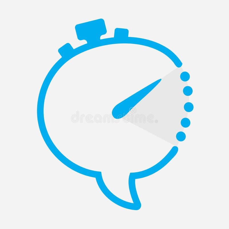 Mida el tiempo del icono de la charla en la forma del reloj con el regulador de la mano minuciosa La flecha indica dos horas de t ilustración del vector