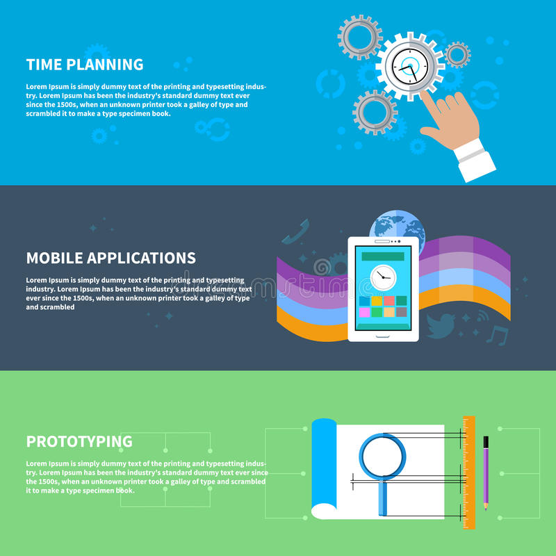 Mida el tiempo del planeamiento, app móvil, sistema del concepto de la creación de un prototipo libre illustration