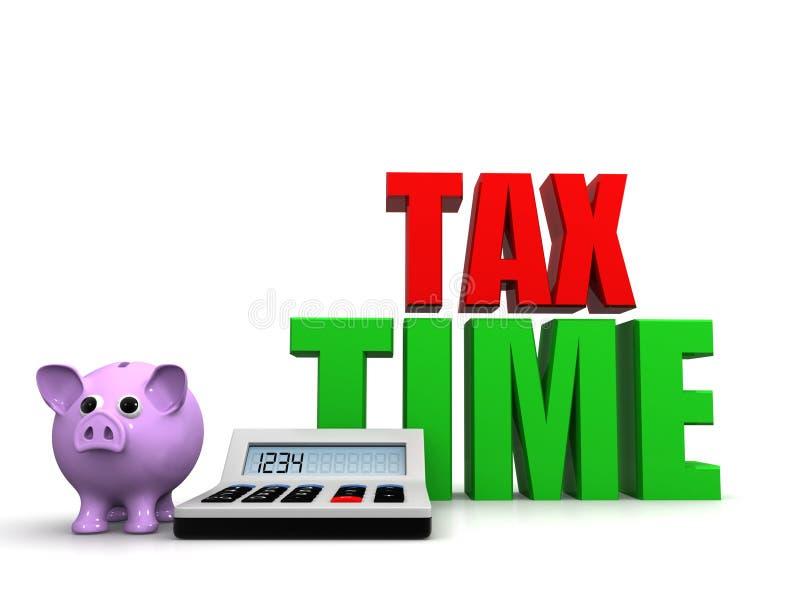 Mida el tiempo para el mensaje de los impuestos que muestra a impuestos la foto com?n debida stock de ilustración