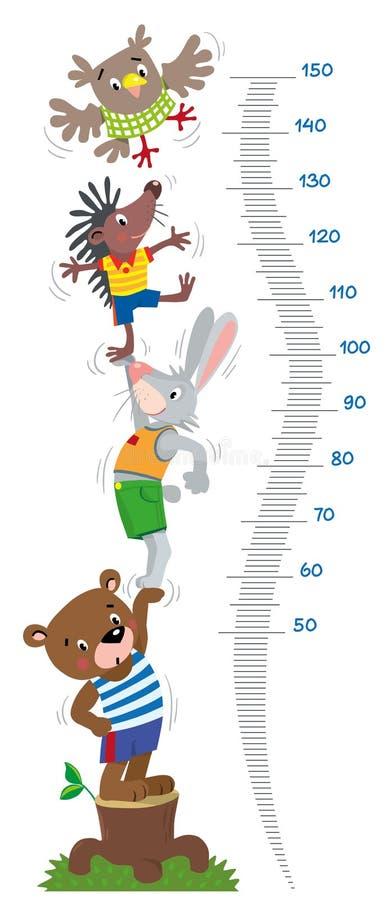 Mida la pared o la carta de la altura con los animales divertidos stock de ilustración