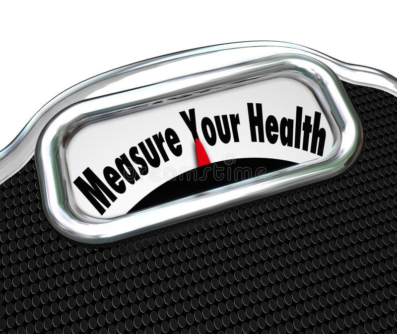 Mida su chequeo sano de la pérdida de peso de la escala de la salud libre illustration