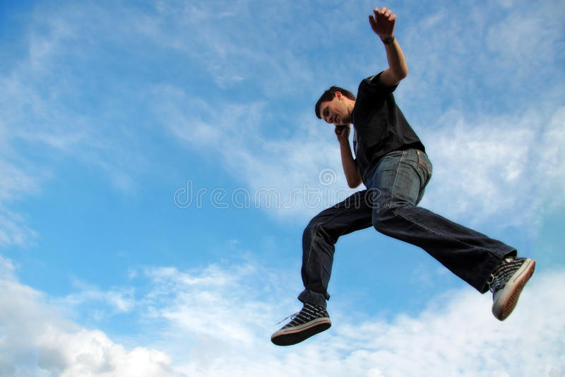 midair ατόμων τηλεφωνική ομιλία στοκ εικόνα με δικαίωμα ελεύθερης χρήσης