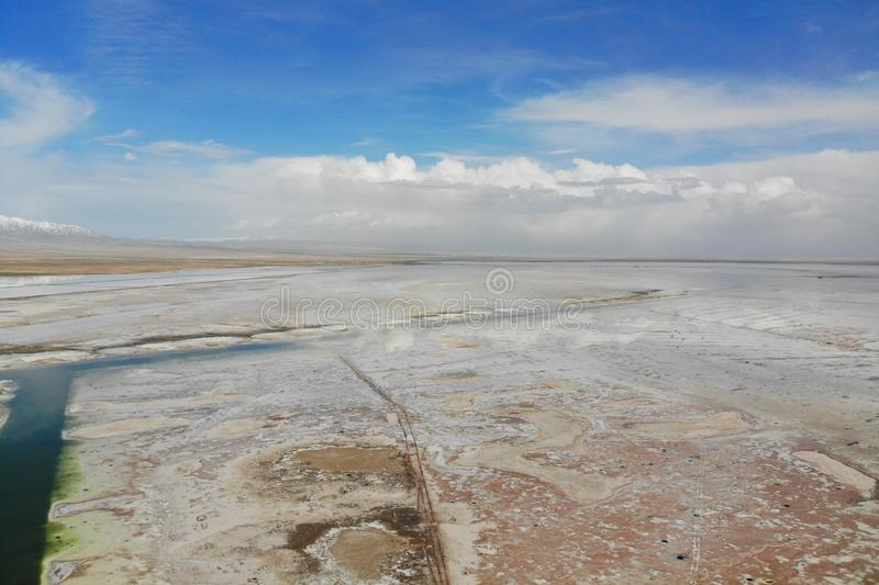 The midair view of Chaka Salt Lake. Chaka is Tibetan language, the meaning is salt pond, which is the salt of Qinghai. It is one royalty free stock photo