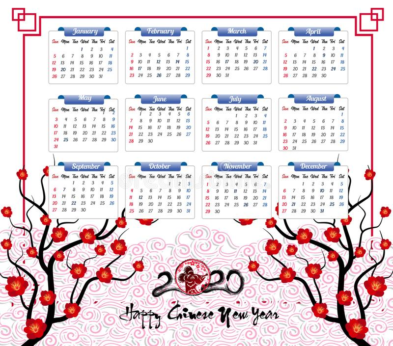 Vector 2020 Calendar for new year of mouse stock illustration