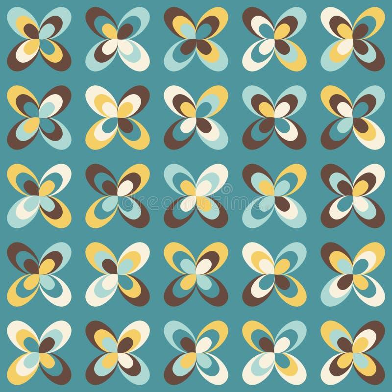 Midcentury geometryczny retro wzór, roczników kolory ilustracji