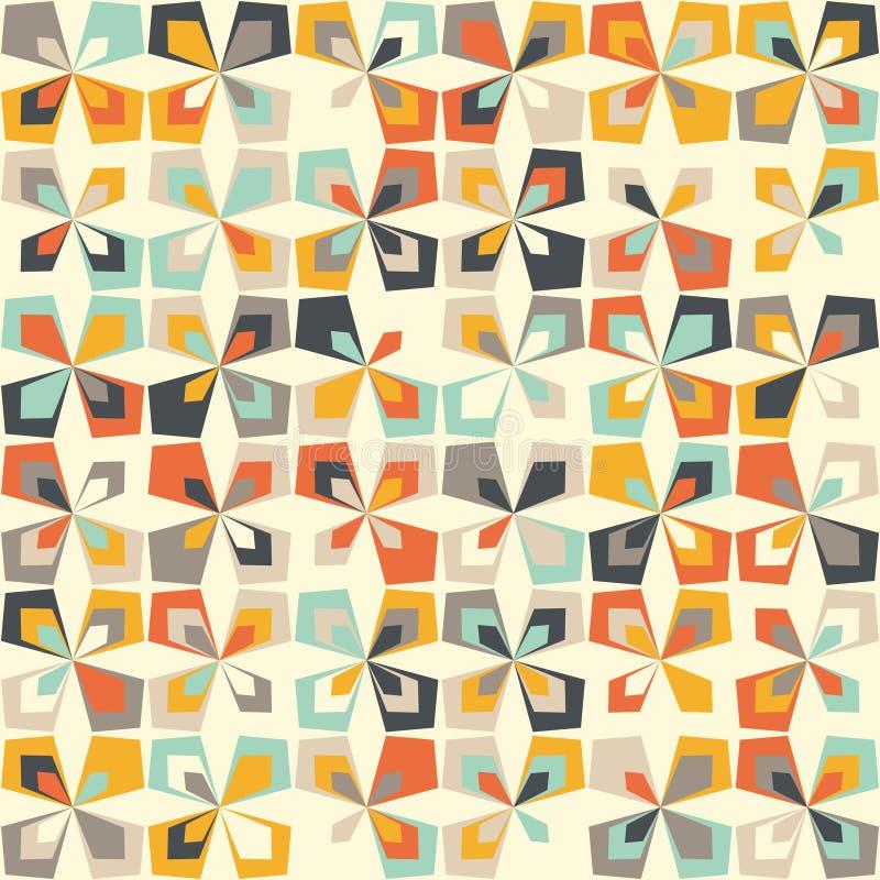 Midcentury geometryczny retro wzór, rocznik barwi, retro tapety ilustracji