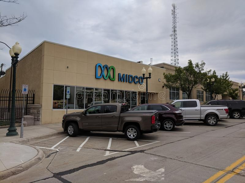 Midco. Ntinent Communications offices in downtown Sioux Falls offers free Wi-Fi downtown and in some city parks stock images