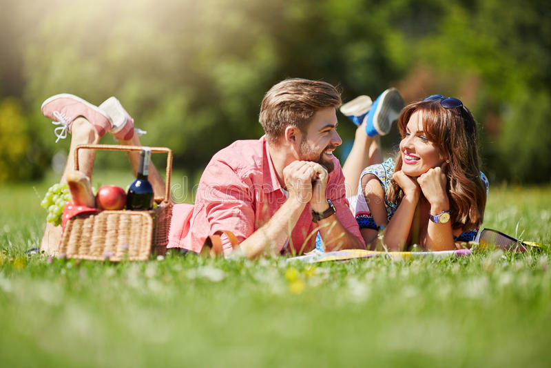 Middaggesprek op het gras stock fotografie