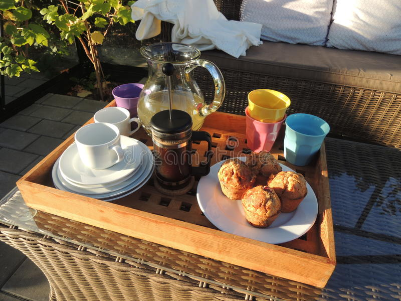 Middagkoffiepauze in de serre royalty-vrije stock foto's
