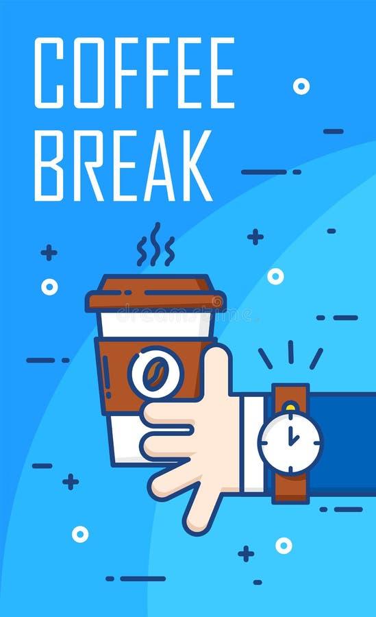 Middagpauzeaffiche met hand van de bedrijfsmens en kop van koffie op blauwe achtergrond Dun lijn vlak ontwerp Vector royalty-vrije illustratie