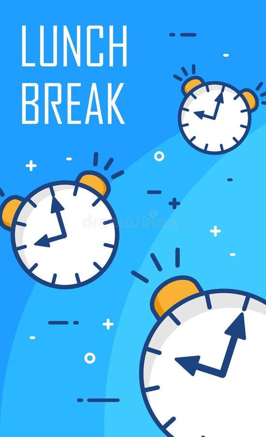Middagpauzeaffiche met wekkers op blauwe achtergrond Dun lijn vlak ontwerp Vector banner stock illustratie