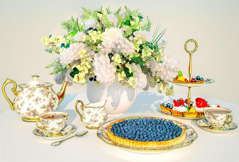Middagthee De bosbessenpastei, fruitcakes, thee, boeket wordt van bloemen gevestigd op een doek vector illustratie