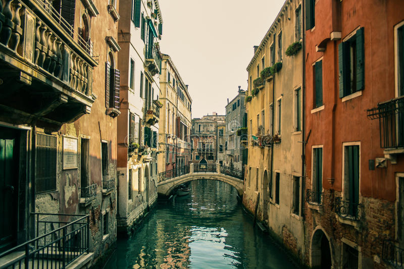 Midday in the labirynth of Venice stock photo