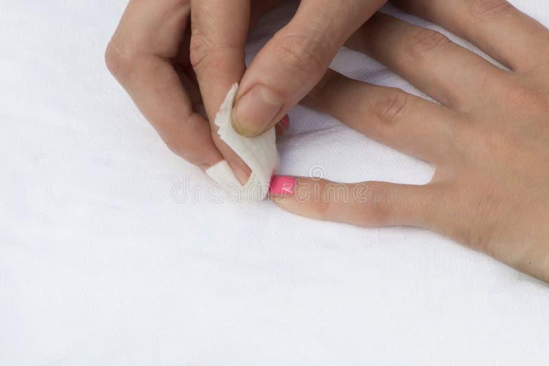 Middel om nagellak te verwijderen stock afbeelding