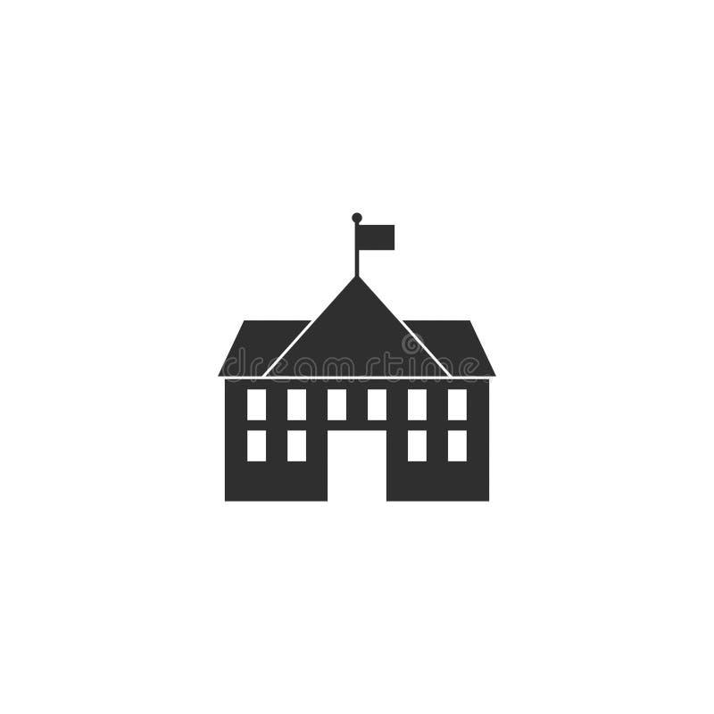 Middelbare school de vector van het de bouwpictogram isoleerde 6 royalty-vrije illustratie