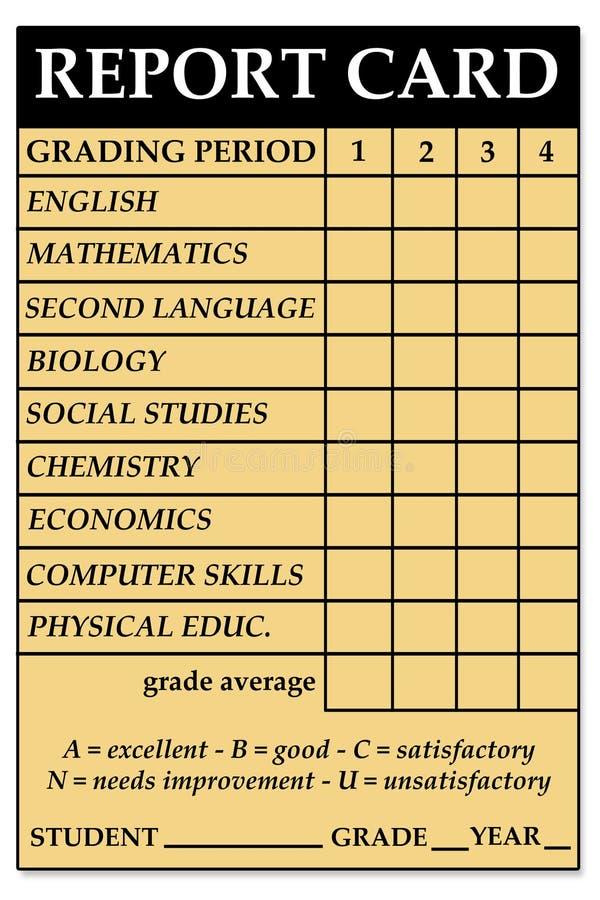 Middelbare schoolschoolrapport royalty-vrije illustratie