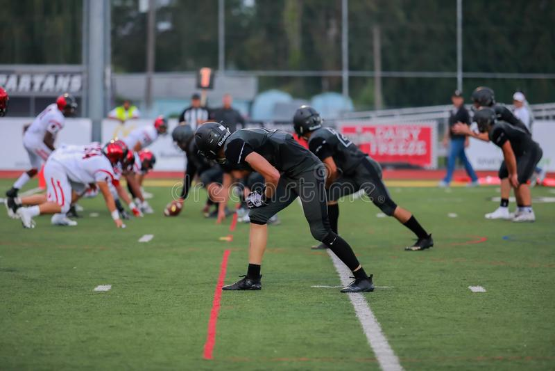Middelbare schoolvoetbalwedstrijd royalty-vrije stock foto's