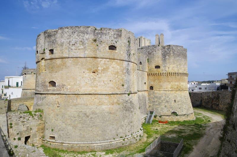 Middeleeuws Aragonese-Kasteel in Otranto, Apulia, Italië stock foto's