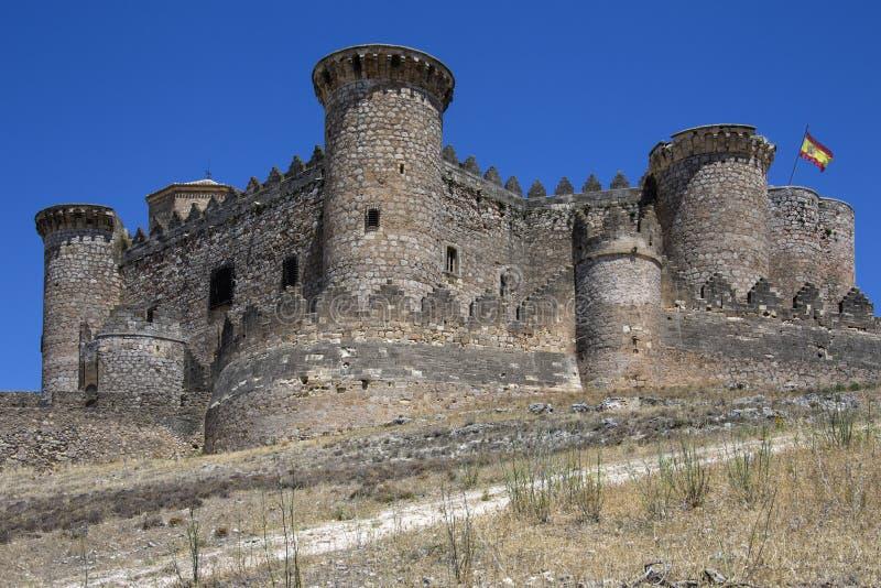 Middeleeuws Belmonte Kasteel - La Mancha - Spanje stock afbeelding