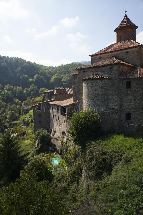 Middeleeuws Catalaans dorp, Spanje royalty-vrije stock afbeelding
