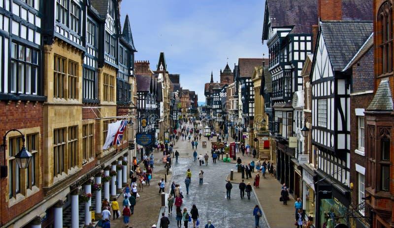 Middeleeuws Chester in Engeland stock afbeeldingen