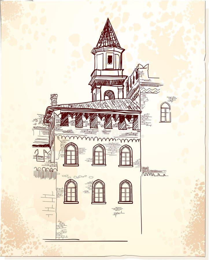 Middeleeuws dorp royalty-vrije illustratie