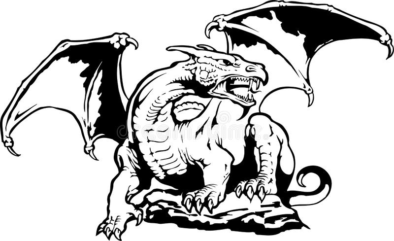 Middeleeuws Dragon Illustration vector illustratie