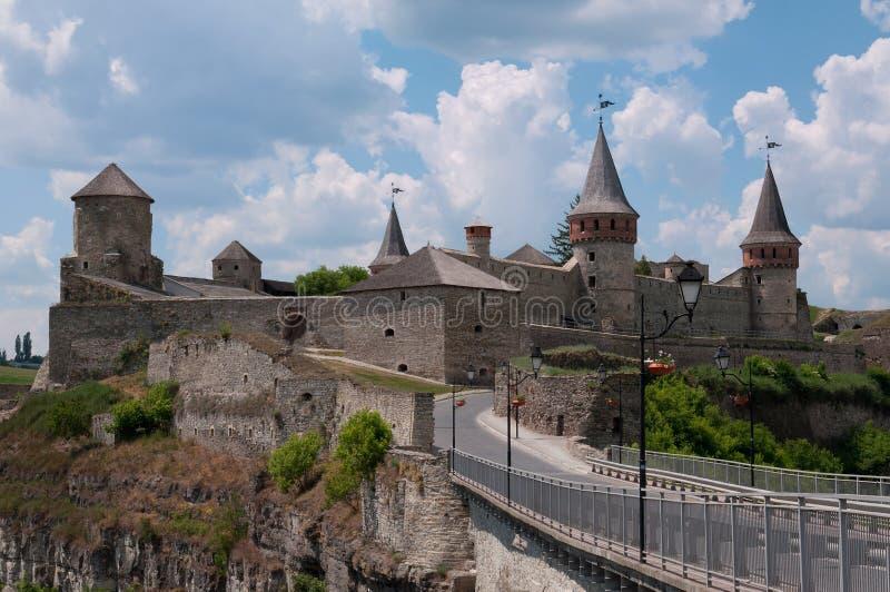 Middeleeuws kasteel in kamenetz-Podolsk, de Oekraïne royalty-vrije stock foto's