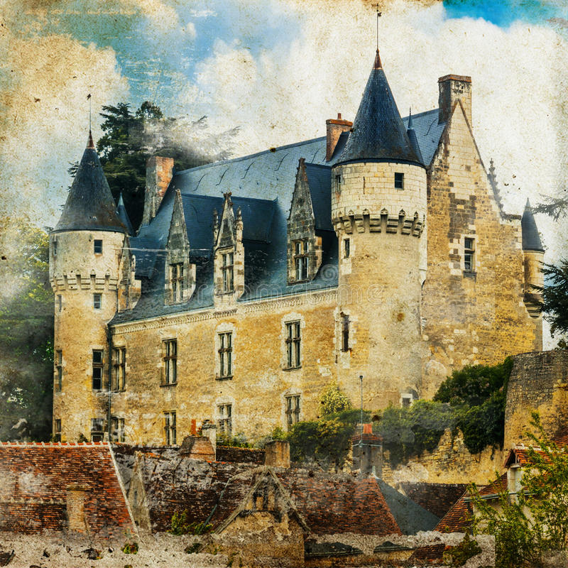 Middeleeuws kasteel Montresor in Frankrijk Retro gestileerd beeld stock foto's