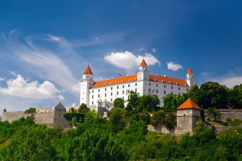 Middeleeuws kasteel op de heuvel tegen de hemel stock afbeelding