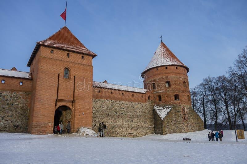 Middeleeuws kasteel in Trakai, de winterlandschap, Vilnius-Provincie, Lit stock foto