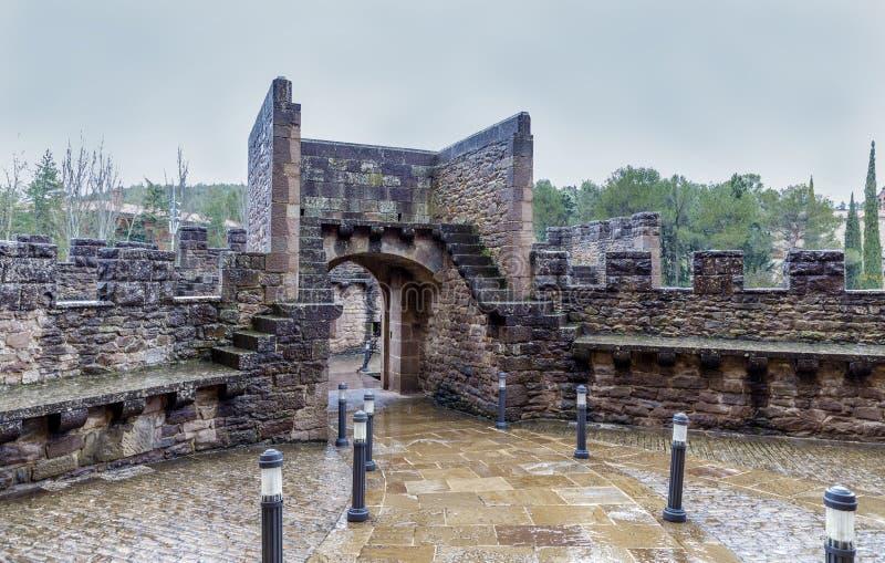 Middeleeuws kasteel van Javier in Navarra spanje stock afbeelding
